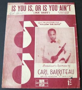 LOUIS JORDAN IS YOU IS, OR IS YOU AIN'T JAZZ SHEET MUSIC (1944) ENGLAND