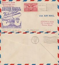 US 1949 HELICOPTER AIR MAIL SERVICE FLOWN COVER AM 96 CHICAGO TO LA GRANGE