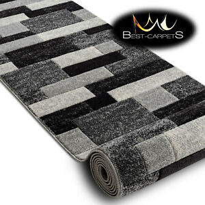 Modern Thick Hall Runner 'FEEL' Rectangles grey Width 70-120cm extra long Stairs