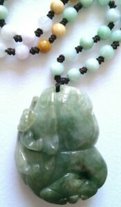 '100% NATURAL UNTREATED ICY-GREEN JADE JADEITE NECKLACE AND PENDANT