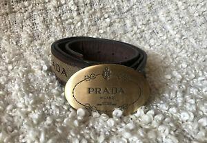 PRADA logo brown canvas leather bronze oval round buckle belt