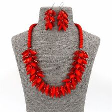Fashion Jewellery Girls Party Red Beads Boho Women Necklace and Earrings Set