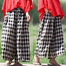 Womens Elastic Waist Drawstring Wide Leg Pants Plaid Casual Baggy Loose Trousers