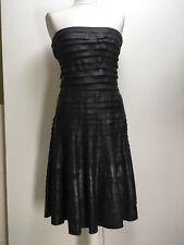 NEW Emporio Armani black leather frills ruffles straples dress full skirt 42 10