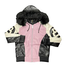 Men's Robert Phillipe Blush Pink/White 8 Ball Jacket with Fur Hood