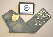 MICHAEL KORS Womens Jeans Crop Floral Light Blue Embroidered Floral W30 L26 UK 4