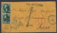 1874 Ohio to Switzerland cover (Scott 158) underpaid 10c Swiss closed mail rate