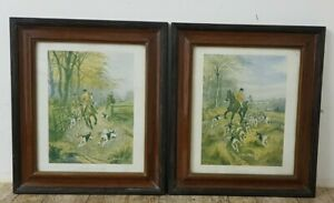 Pair of Framed On the Scent & Way to the Draw Raphael Tuck Hunting Prints