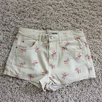 TOPSHOP MOTO CREAM FLORAL LOW RISE SHORTS   SZE 10
