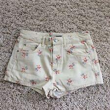 TOPSHOP Moto Crème Floral Taille Basse Shorts Sze 10