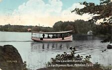 Mendon MA Lake Nipmuc Park Houseboat Launch~Big American Flag 1909 Postcard
