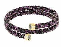 NIB $89 Swarovski Crystaldust Double Bracelet Black & Pink Size Medium #5379278
