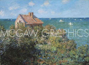 MONET CLAUDE - FISHERMAN'S COTTAGE ON THE CLIFFS AT VARENGEVILLE, 1882-ART11X14""