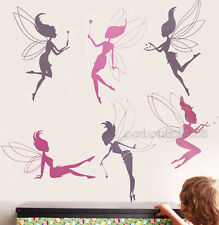 Vinyl FAIRY GIRLS Wall Sticker Transparent Kids Child Bedroom Nusery Art Decals