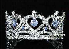 Damigella Matrimonio/Bambino cristallo cerchio rotondo cuore blu mini corona