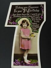 c1930's LITTLE GIRL & JAPANESE DOLLY Cut Out Numeral 7th Birthday Postcard