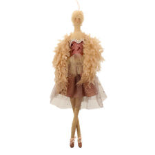 Fabric Rose Gold Ballerina Hanging Christmas Tree Decoration with Boa 40cm