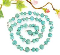 Vintage Speckled Turquoise Blue Wired Glass Bead Necklace
