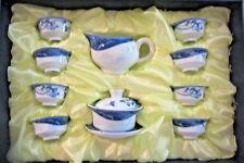 Vintage Japanese Porcelain Childs Doll Set Of 8 Blue & White Rice Bowls Tea Set