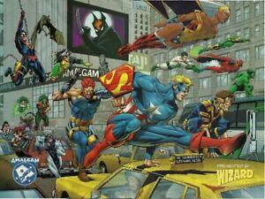 WIZARD AMALGAM DC & MARVEL COMICS -  9.75 X 13 DOUBLE SIDED MINI POSTER MAY 1997