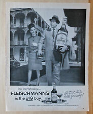 1963 magazine ad for Fleischmann's Whiskey - man with big bottle in New Orleans