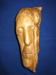 Wooden sculpture10 faces nude by old Dutch wood carver man woman head Europe