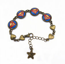 Vintage Bronze Super Hero Superman Superhero with Heart Glass Bracelet Chain
