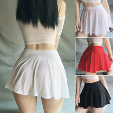 US Wet Mini Skirt Club Sexy Sheer See Through Skirts Women A-Line Pleated Skirt
