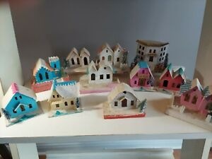 11 Vintage Mica Putz HOLIDAY CHRISTMAS! CARDBOARD VILLAGE HOUSES Made in JAPAN