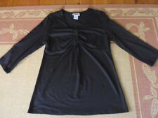 LADIES BLACK EVENING/ SMART POLYESTER  3/4 SLEEVE TOP BY MILLERS - SIZE 10 CHEAP
