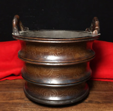 """5.90"""" Xuande Marked Old Chinese Purple Bronze Pinch Silver wire incense burner"""