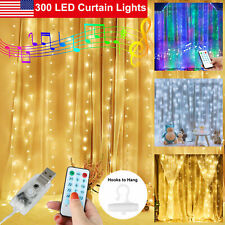 300LED Party Wedding Curtain Fairy Lights USB String Light Music Remote Control