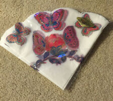 VINTAGE  COLORFUL PARTY HOUSE PAPER COCKTAIL NAPKINS Fan Shaped  20 butterfly