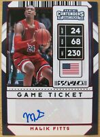 MALIK FITTS 🏀 2020 CONTENDERS DRAFT PICKS GAME TICKET RED ROOKIE AUTO VARIATION