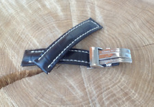 Breitling Watch Strap 20mm HANDMADE Black Alligator + Deployment clasp
