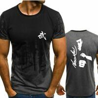 2019 Man Summer Fashion Bruce Lee Print Short Sleeve T-Shirt Casual Tops Tee