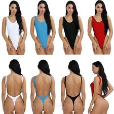 Women Sexy  High-Cut Leotard Thong One-Piece Bodysuit Dance Swim Suit Size S-XXL
