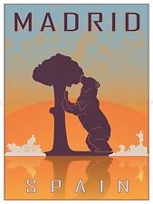 Viajes Turismo Madrid España Oso madrono Árbol ciudad símbolo Vector Cartel bmp10551