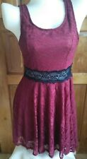 DressNStyle WET SEAL Maroon & Black Lace Mini Casual Skater Dress Made in USA
