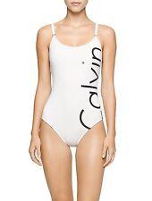 [9241]Calvin Klein Womens Milk White Side Logo Classic One Piece Swimsuit 12 $99