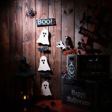 Glitzhome Wooden Halloween Boo 3 Ghosts 2 Bats Creepy Cluster Wall Hanging Decor