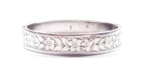 Antique Victorian Bangle Sterling Silver 1884 Hallmarked Flowers & Leafs 16g