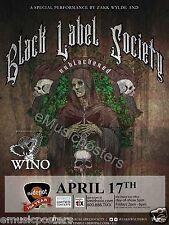 "BLACK LABEL SOCIETY / WINO ""UNBLACKENED TOUR"" 2015 SALT LAKE CITY CONCERT POSTER"