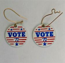 Vintage 1972 Red White & Blue Stars & Stripes Earrings VOTE '72