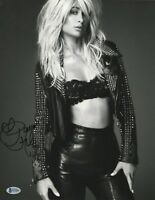 PARIS HILTON SIGNED 11X14 PHOTO AUTOGRAPH LEATHER LACE BAS BECKETT COA