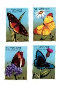 St. Vincent 1996 SC# 2277-80 Butterflies, Flowers, Flora - Set of 4 Stamps - MNH