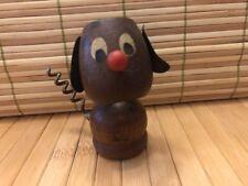 Vintage Wooden Dog Cork Screw Wine Bottle Cork Holder Opener