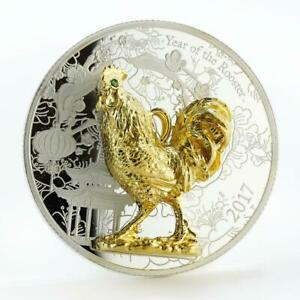 Congo 1000 francs Year of the Rooster silver gold plating coin 2017
