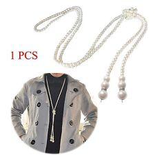 1PCS Fashion Flapper Style Women White Artificial Pearls Long Sweater Chain