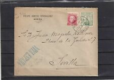 scw0038 Spain Civil war Nice censored letter from Merida to Sevilla +local stamp